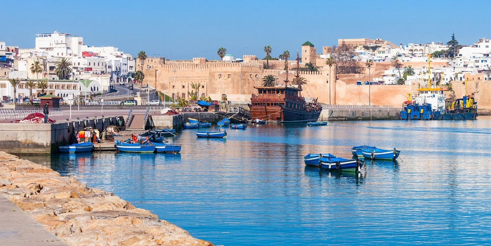River Bou Regreg seafront and Kasbah in medina of Rabat, Morocco. Rabat is the capital of Morocco. Rabat is located on the Atlantic Ocean at the mouth of the river Bou Regreg. (River Bou Regreg seafront and Kasbah in medina of Rabat, Morocco. Rabat is
